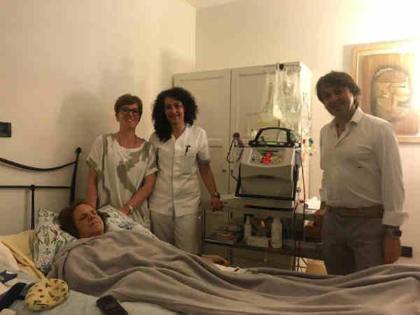 Giovanna durante la dialisi domiciliare